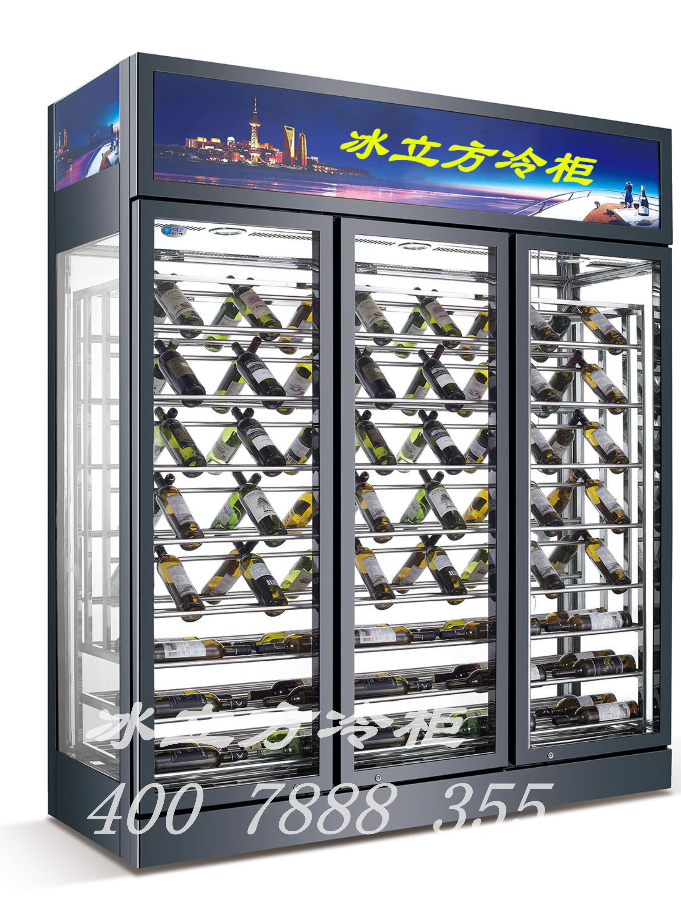 三开门四面透明玻璃顶置压缩机红酒柜_深圳市冰立方.